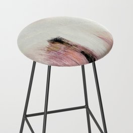 Sunrise [2]: a bright, colorful abstract piece in pink, gold, black,and white Bar Stool