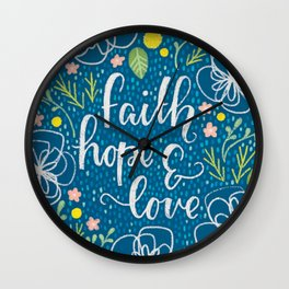 Faith, Hope & Love Neon Floral Wall Clock
