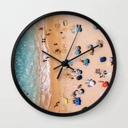 People On Algarve Beach In Portugal, Drone Photography, Aerial Photo, Ocean Wall Art Print Wall Clock