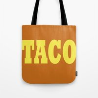 taco Tote Bags featuring Taco by Book Ink Boutique