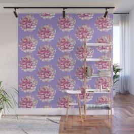 Dahlias pattern on purple Wall Mural