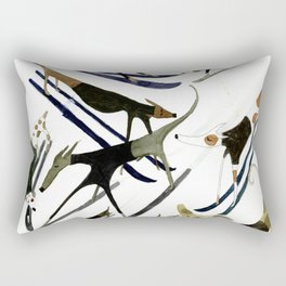 Beatnik Dogs Skiing Rectangular Pillow