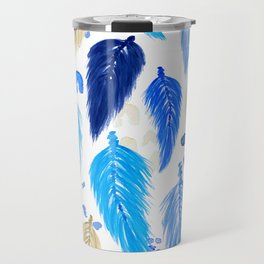 Watercolor Macrame Feathers + Dots in Blue Rainbow Travel Mug