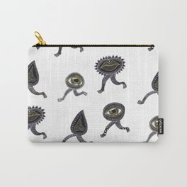running surreal eyes mouth and nose creatures Carry-All Pouch