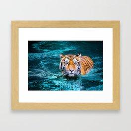 Tiger in Water Framed Art Print