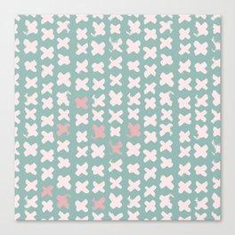 Contemporary X Paint Cross stich Mint Pink Pattern Canvas Print