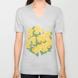 Yellow Rose Bouquet Digital Drawing Unisex V-Neck