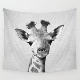 Baby Giraffe - Black & White Wall Tapestry