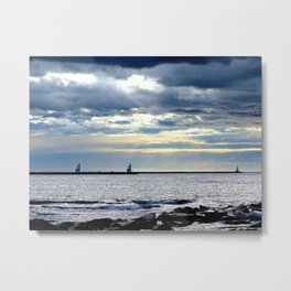 Sea Sunny Cloudy Metal Print