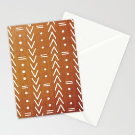 Mudcloth White Geometric Shapes in Ochre Burnt Orange Stationery Cards