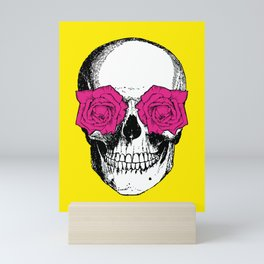 Skull and Roses | Skull and Flowers | Vintage Skull | Yellow and Pink | Mini Art Print