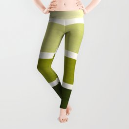 Olive Green Minimalist Watercolor Mid Century Staggered Stripes Rothko Color Block Geometric Art Leggings