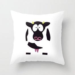 Cow in Cartoon Stlye Throw Pillow