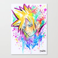 playstation Canvas Prints featuring Original - CLOUD STRIFE - Watercolor Painting - Playstation by Jonny Clingan