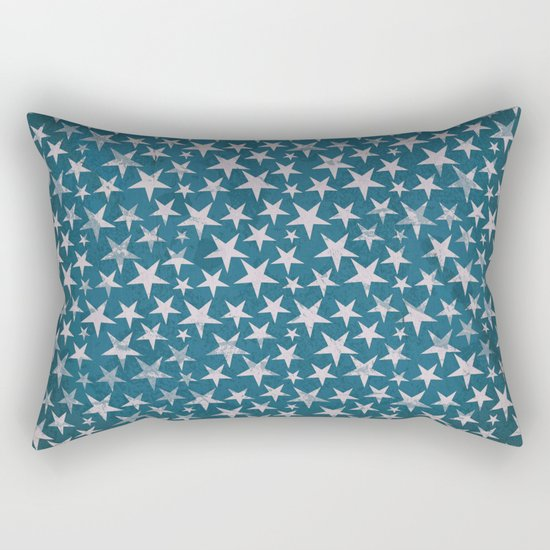 White stars on grunge textured blue background Rectangular Pillow
