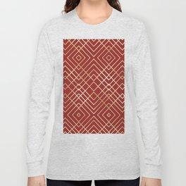 Modern Chinese Red Art Deco Geometric Pattern Long Sleeve T-shirt