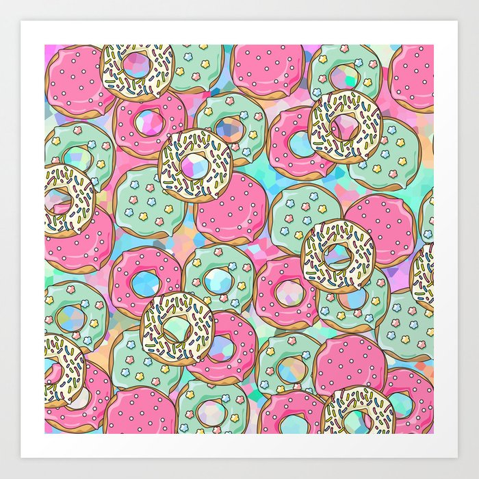 Sweet Donuts Cookies Art Print