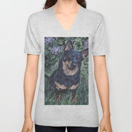 Lancashire Heeler dog art portrait from an original painting by L.A.Shepard Unisex V-Neck