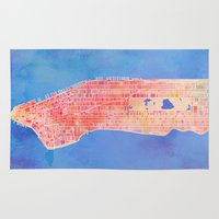 manhattan Area & Throw Rugs featuring Manhattan  by Marta Olga Klara