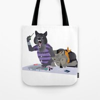 cocaine Tote Bags featuring cocaine wolves by Dyna Moe