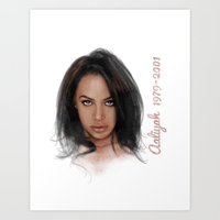 aaliyah Art Prints featuring Aaliyah by Tribute Portrait