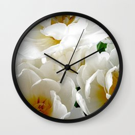 White tulips with afterglow centers Wall Clock