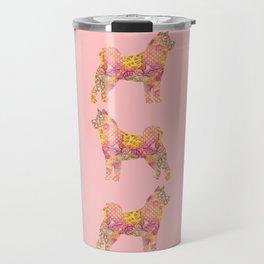Akita Inu Dog Colorful Pink Yellow Pastel Pretty Floral Pattern Travel Mug