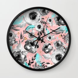 blooms flowers black and white Wall Clock