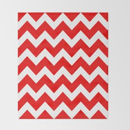 Chevron Red White Throw Blanket