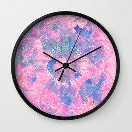 Pink Blue Mandala Watercolor floral Pattern Wall Clock