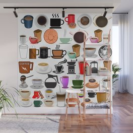 Coffee Mugs, Cups and Makers Wall Mural