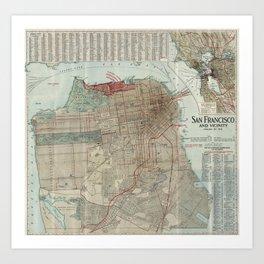 Vintage Map of San Francisco CA (1914) Art Print