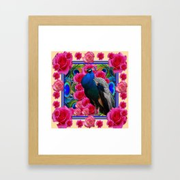 BLUE PEACOCK &  CREAM COLOR  PINK ROSE  FLOWERS Framed Art Print