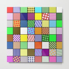 Retro Patchwork - Abstract, geometric, patterned design Metal Print