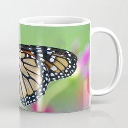 Monarch Butterfly Pollinating Deep Pink Cosmos Flower Coffee Mug
