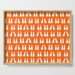 Scuba Diving White Fins on Orange Serving Tray