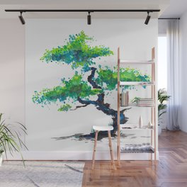 Blue Bonsai Wall Mural