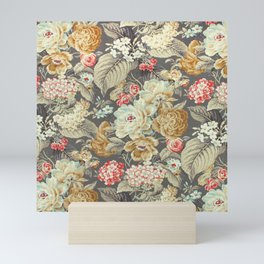 Gray Gold White Rose Pattern Mini Art Print