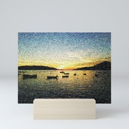 Seascape Sunset with Boats Mini Art Print