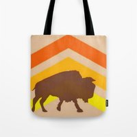 buffalo Tote Bags featuring Buffalo by Wood Grian & Grits