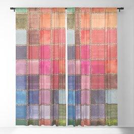 Rainbow Tiles Golden Mosaic Sheer Curtain