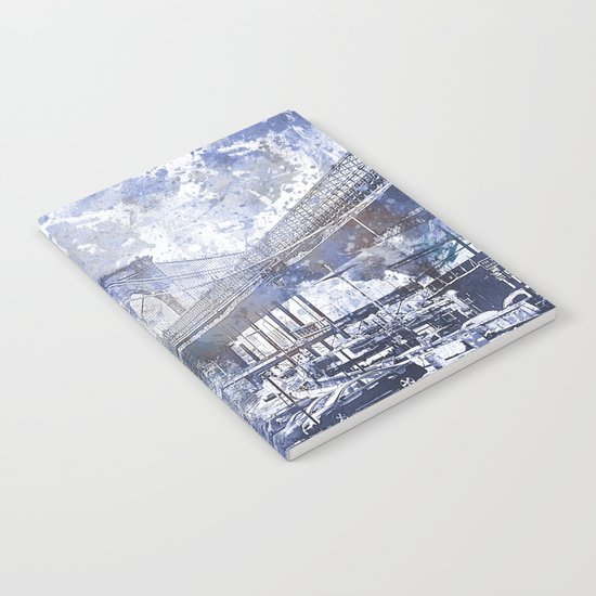 Brooklyn Bridge New York USA Watercolor blue Illustration Notebook