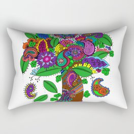 Psychedelic Paisley Tree - on White Background Rectangular Pillow