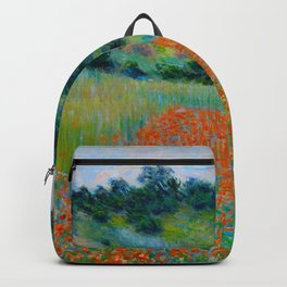 Claude Monet Impressionist Landscape Oil Painting Poppy Field in a Hollow near Giverny Backpack