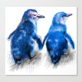 We care a lot. Couple of blue little penguins. Canvas Print
