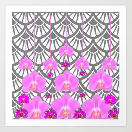 CERISE PINK ORCHID FLOWERS GREY DECO PATTERN ABSTRACT ART Art Print