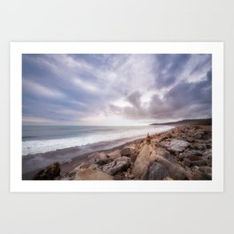 Windswept overcast beach at Bruce Bay at sunset in New Zealand. Art Print