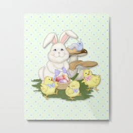 White Rabbit and Easter Friends Metal Print