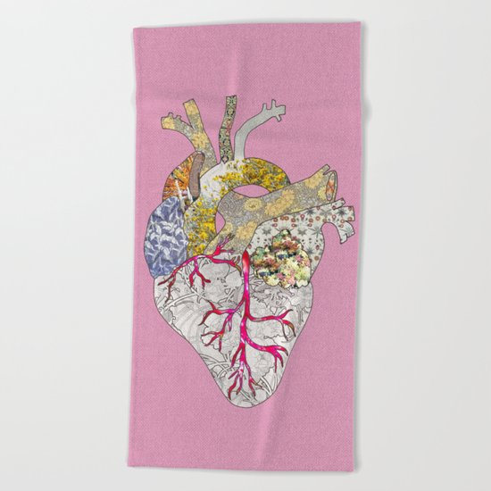 my heart is real Beach Towel