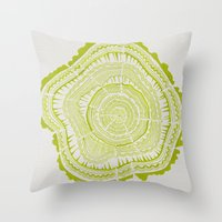 tree rings Throw Pillows featuring Lime Tree Rings by Cat Coquillette
